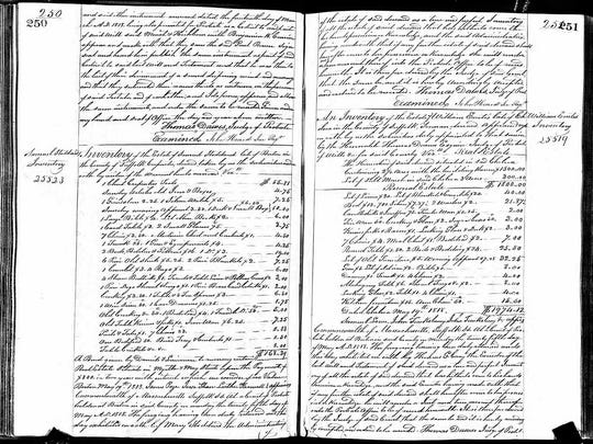 This undated public document from Massachusetts probate records provided by ancestry.com, shows a portion of Paul Revere's will. A three-year digitization project by the genealogical research firm will make available online, starting Wednesday, Sept. 2, 2015, wills and probate records of about 100 million Americans from the Colonial era to the beginning of the 21st Century.