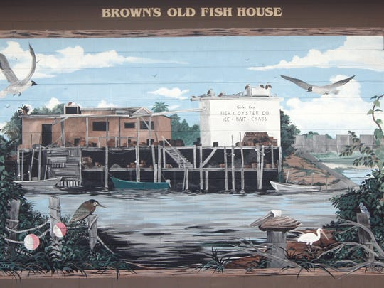 This mural is on the side of the Old Fish House Cafe in Cedar Key.