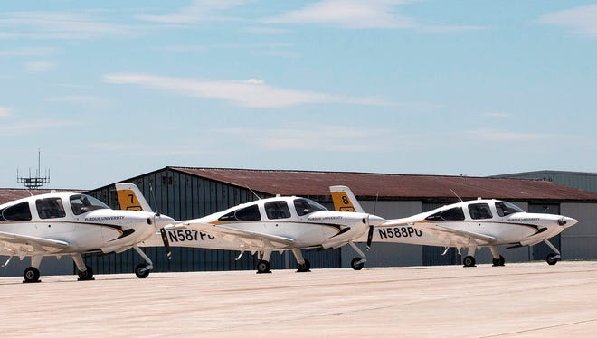 Plans for a 980-acre aerospace technology park at Purdue University were unveiled Tuesday in Indianapolis. Purdue's Department of Aviation Technology graduates one of the largest classes for aviation professionals in the country. Purdue has 40 planes in its fleet with anticipated growth in the coming year. Many of these planes are used by students participating in flight training.
