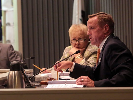 Former Palm Springs Mayor Steve Pougnet and the city council discuss the permit for a fourth marijuana dispensary in the city during a a Palm Springs City Council meeting on Wednesday, September 3, 2014 in Palm Springs.