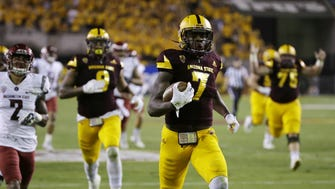 Arizona State running back Kalen Ballage runs for a 52-yard touchdown against Washington State in the 2nd quarter during PAC-12 action on Saturday, Oct. 22, 2016 in Tempe, Ariz.