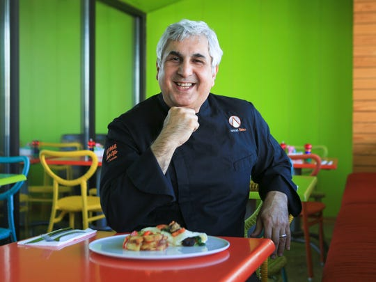 Anoosh Shariat of Noosh Nosh has a menu of breakfast, lunch and dinner at his casual eatery just behind his more upscale Anoosh Bistro in the Brownsboro Road Shopping Center near the Watterson Expressway.