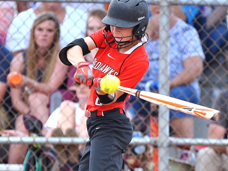 Stewarts Creek's Morgan Smith slaps to an opening in the Dickson County defense in the AAA State Championships at Spring Fling 2016 Wednesday, May 25, 2016 in Murfreesboro, Tenn.