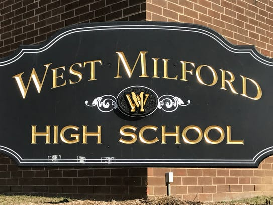 West Milford High School's front entry sign as seen in 2017.