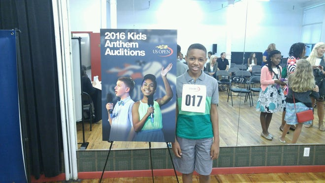 Elijah Morman of Lumberton is shown at a call back audition to sing at the upcoming U.S. Open in New York. The audition was held at Ripley-Grier Studios in New York City earlier this summer. Elijah was one of 12 children 14-and-under selected to sing at the Open.