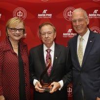 APSU President Alisa White, Wayne Ard and former APSU President Oscar Page.