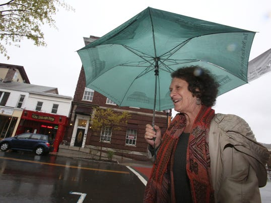 Sherry Glickman in rain in Nyack