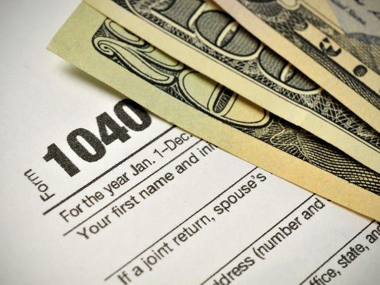 An Internal Revenue Service 1040 tax form