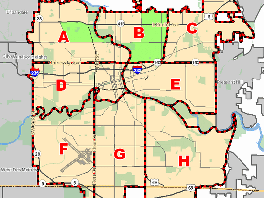 The areas in green on this map show where the city