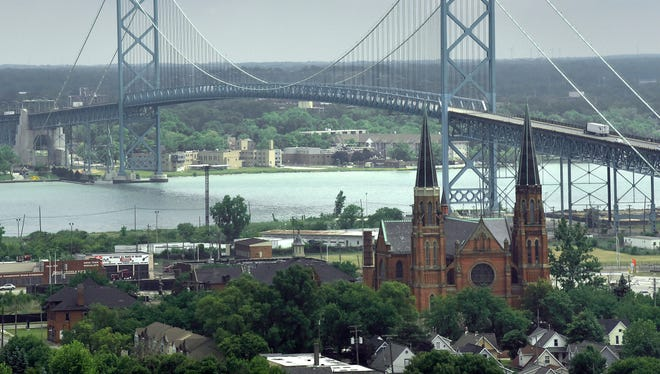 The Ambassador Bridge is seen from the 13th floor of the train station.