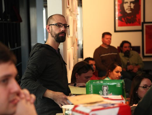 Des Moines business owner Ben Milne, founder of Dwolla, and his employees get together once a month to exchange ideas. The brainstorming session, which they call Beers and Ideas, is held company-wide, including video conferencing with members out of state.