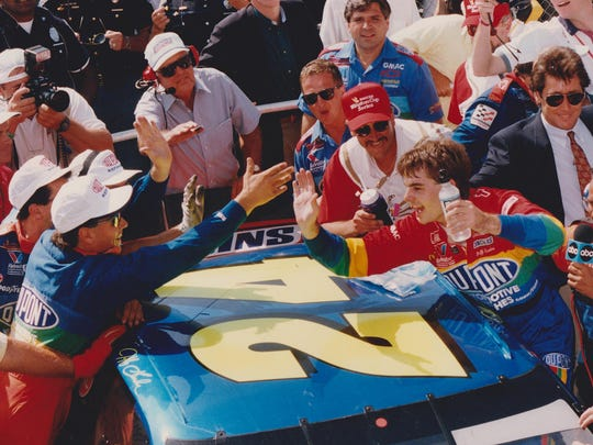 Jeff Gordon celebrates after winning the first Brickyard 400 in 1994.