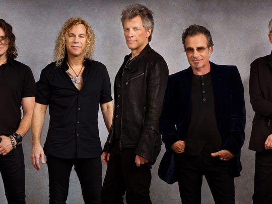 Bon Jovi in Miami, Florida on December 2, 2016. From left, Everett Bradley (percussion), Phil X (guitar), David Bryan (keyboard), Jon Bon Jovi, Tico Torres (drums), Hugh McDonald (bass), and John Shanks (guitar).
