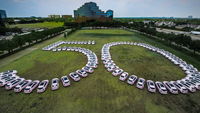 About 100 pink Cadillacs mark the 50th anniversary of Mary Kay, the big cosmetics giant
