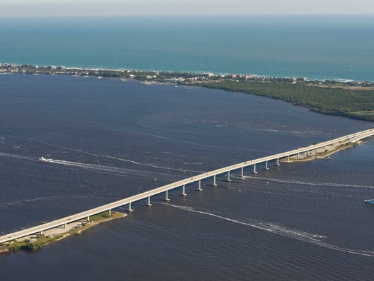 An aerial view of the Ernest Lyons Bridge crossing