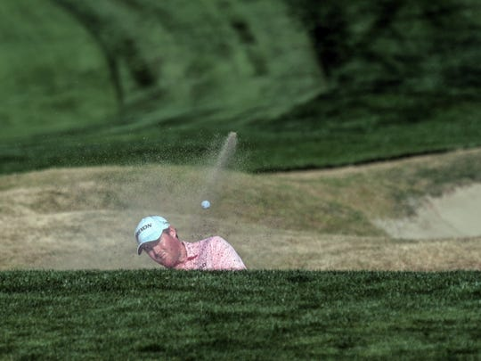 American Grayson Murray hits his ball out of the sand on 17 in the Stadium Course during the 1st round of the CareerBuilder Challenge on Thursday, January 19, 2018 in La Quinta.