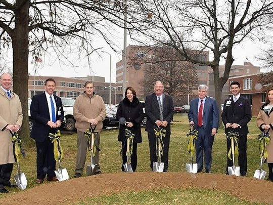 Groundbreaking - Groundbreaking for the St.Vincent Patricia Browning Stone Sensory Playground, an indoor state-of-the-art therapeutic play area for children cared for at St. Vincent's Center for Children took place recently with opening scheduled for mid-2018. From left are Dan Carwile, Dan Parod, Larry Steenburg, Mary O'Daniel Stone, Bill Stone, Dr. Hossain Marandi, Dr. Mark Browning and Dr. Maria Del Rio Hoover.