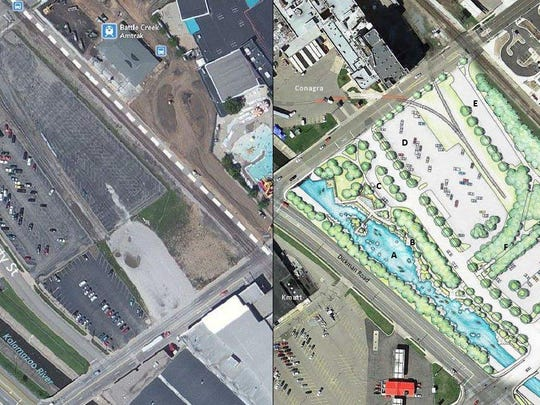 A rendering (right) presented by Battle Creek Whitewater Inc. shows the potential transformation of a downtown site next to the Kalamazoo River. The property, south of the city's transportation station between Capital Avenue Southwest and McCamly Street, once housed Soapy's Car Wash. The site's makeover would include a riverwalk, rerouted traffic on Capital and the installation of native boulders and plantings in the river.