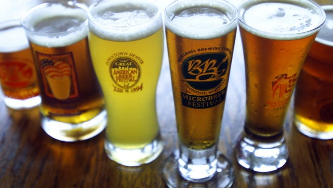 Beer samples at the Bluegrass Brewing Co. at 3929 Shelbyville Road.