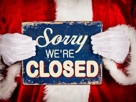 Santa with Closed Sign