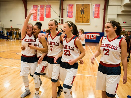New Oxford Lady Colonials celebrate after defeating