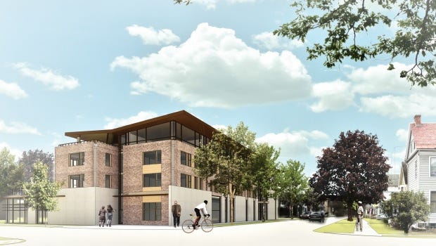 A rendering of the Travis Hyde proposal for the Old Library site.