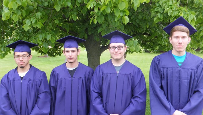 Sheboygan Central High School graduates, from left, Gilberto Gonzalez, Jesus Lopez, Courtland Shulak and Jesse Oltrogge recently earned their high school diplomas, as well as their welding industrial technical diplomas.