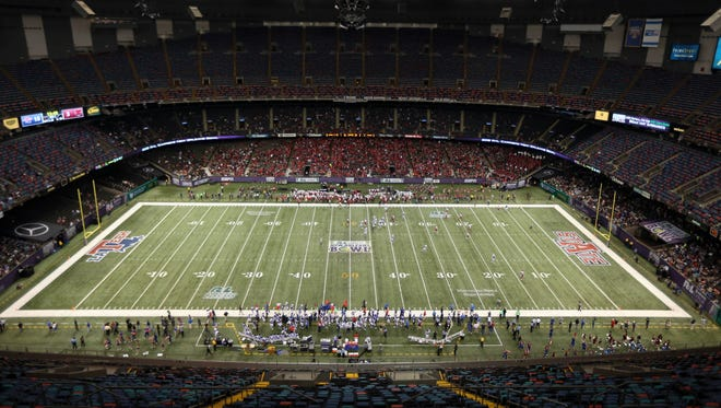 A view of the Mercedes-Benz Superdome in the second quarter of the 2015 New Orleans Bowl between the Louisiana Tech Bulldogs and the Arkansas State Red Wolves.