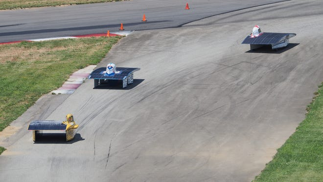 Student-designed solar-powered cars like these will be at Republic High School this afternoon and Wilson's Creek National Battlefield Wednesday morning during the  1,975-mile American Solar Challenge race.