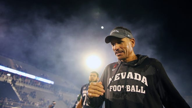Jay Norvell was all smiles Saturday night after his first win as Nevada's football coach, a 35-21 victory over Hawaii in Reno, Nev. The win moves the Wolf Pack out of last place in our weekly Mountain West power ranknigs.