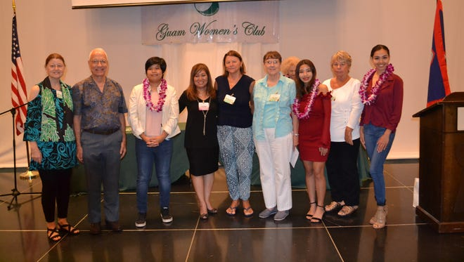 Guam Women's Club presented $1,000 scholarships to students attending Guam Community College at their recent business meeting held May 25 at the Sheraton Laguna Guam Resort. Pictured from left: Mary Louise Wheeler, GWC member; Fred Horecky, GWC past king rex; Ciara Joy Naguit, Horecky/Wheeler scholarship recipient; Leo Jordanou, GWC president; Rosemary Clement, GWC member; Nancy Weare, GWC education chair; Elizabeth Borja Inos, Joan B. Huff memorial scholarship recipient; Sue Biolchino, GWC corresponding secretary; Cyndal Abad, Rick Biolchino Memorial scholarship recipient.
