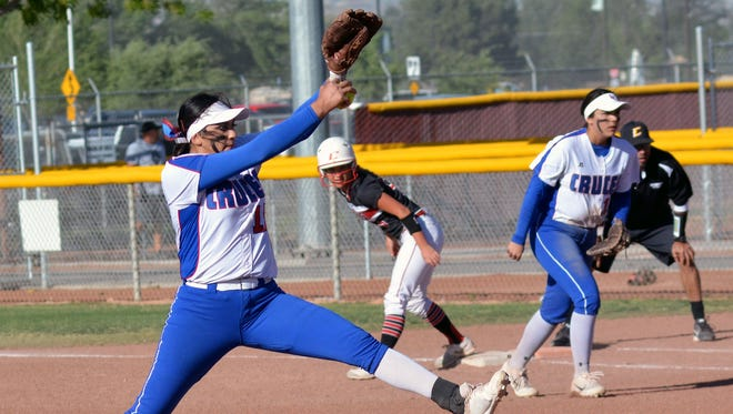 Las Cruces' Anisah Triste pitches against Centennial on Friday at the Field of Dreams Softball Complex.