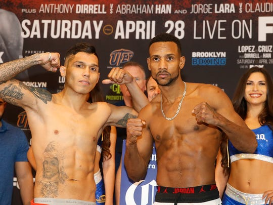 Jorge Lara poses with Claudio Marrero after both fighters weighed in and made weight. Lara and Marrero square off on the third bot of the televised portion of the card at the Don Haskins Center. A night of boxing will feature 12 bouts with the first fight of the afternoon steeping into the ring at 4:05 p.m.