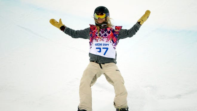 In a file photo from the 2014 Winter Olympics, Hannah Teter reacts after her second run in the lhalfpipe finals on Feb. 12.