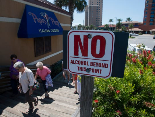 The Escambia County Commission has decided not to conduct a survey on the effects of banning open containers in the public areas of the Pensacola Beach boardwalk.