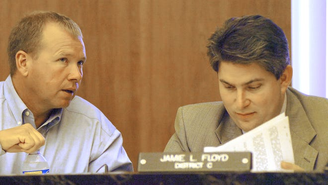 "This photo from 2010 shows Rapides Parish District B Police Juror Joe Bishop (left) talking to then-District C Police Juror Jamie Floyd. Bishop is pushing for a Senate bill that would allow an election for ""restaurant and retail"" alcohol sales in the unincorporated area of District B. Floyd opposes the bill and helped fight to make sure the bill doesn't apply to his former jury district."