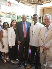 From left, Assemblyman Jamel Holley, Councilwoman Patricia Perkins-August, Union County College President Margaret M. McMenamin, Assemblyman Jerry Green, Union County College Student Government Association President Brian Burger, and Union County College Foundation Chairman J. Anthony Manger.