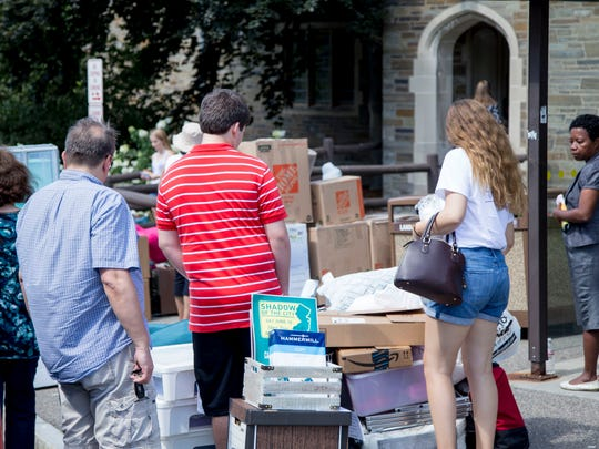 Cornell students move into Balch Hall on Friday, August 19. Nearly 20,000 Cornell students attend class on the Ithaca campus, leading to major fluctuations in the city's population during that time.