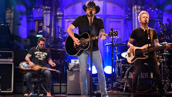 "Jason Aldean performs ""I Won't Back Down"" on ""Saturday Night Live"" on Oct. 7, 2017."
