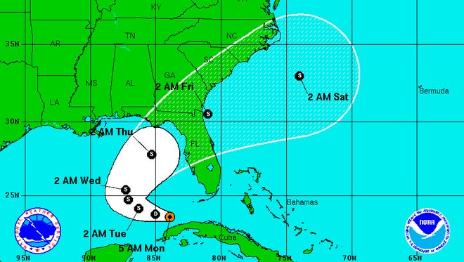 Tropical Depression 9 is forecast to become a storm in the Gulf and move toward Florida's Big Bend area.