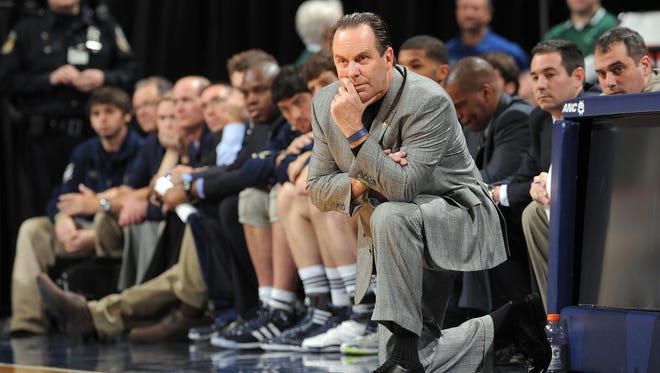 FILE -- Notre Dame's head coach Mike Brey looks on from the bench in the second half of their Crossroads Classic basketball game  at Conseco Fieldhouse.