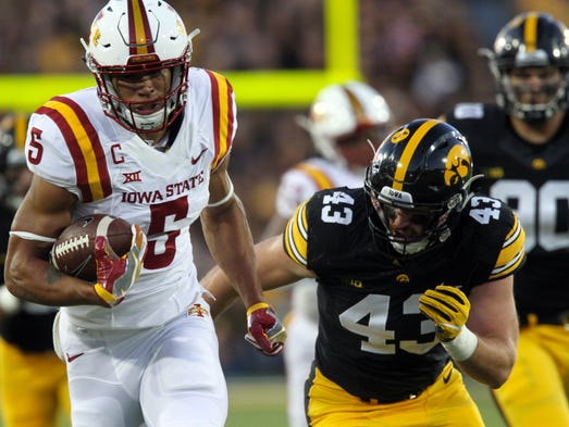 Iowa State receiver Allen Lazard gets caught from behind