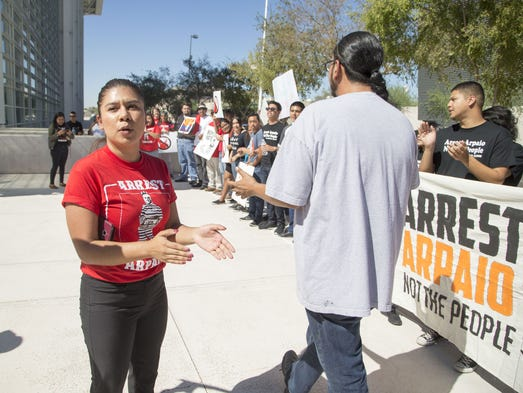 "Viridiana Hernandez protests at the ""Arrest Arpaio"