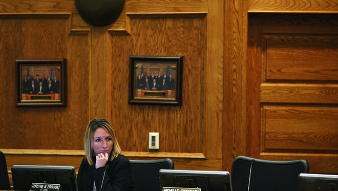 Sioux Falls city council member Christine Erickson looks on as Sioux Falls mayor Mike Huether delivers his State of the City speech Thursday, March 31, 2016, at Carnegie Town Hall in downtown Sioux Falls.