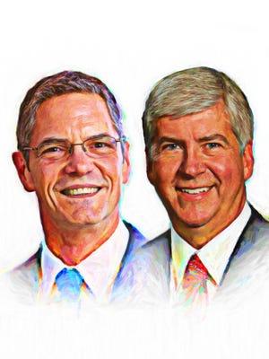 Mark Schauer, left, and Rick Snyder