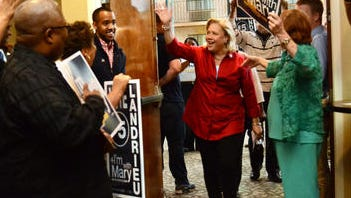 U.S. Sen. Mary Landrieu is greeted by supporters as she enters a campaign rally today at the Best Western in Alexandria.