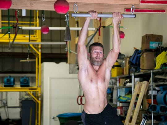 Morgan Wright trains in the ninja gym he shares with
