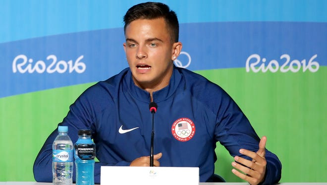 Hurdler Devon Allen of the U.S. speaks at a news conference for the #Rio2016 Rio Olympic Games on Aug. 11, 2016 in Rio de Janeiro, Brazil.