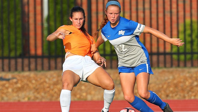 MTSU freshman Peyton DePriest dribbles in a game against Tennessee on Sept. 3, 2017.