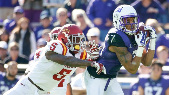 Iowa State defensive back Kamari Cotton-Moya (5) met with reporters for the first time since suffering a head injury last month.